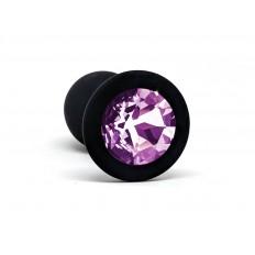 BQS - Svart Silikonbuttplug med Rosa Krystall - Liten