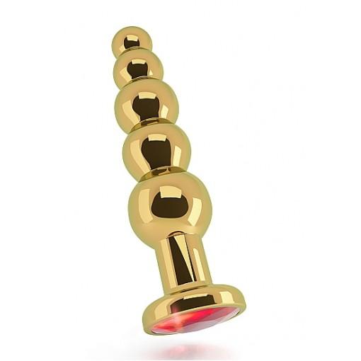 Rich - R5 buttplug i gull med rød krystall