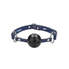 Ouch! - Ball gag med pustehull - Blå Denim/Sort